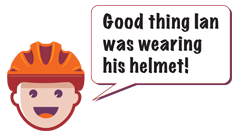 Thought bubble - Ian wearing helmet